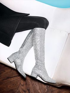 sparkly saint laurent glitter boots for fall.