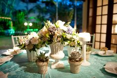 turquoise, white and salmon wedding tablescape
