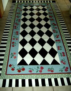 Floorcloth COUNTRY COTTAGE decor 4'x7'