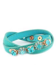 turquoise leather & crystal wrap bracelet <3