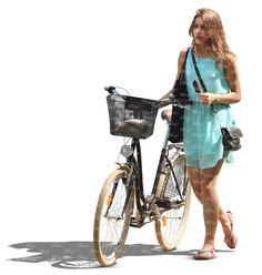 femme dans une robe bleue marchant avec un vélo - découper personnes - VIShopper