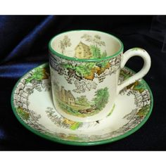Copeland Spode 'Byron' Pattern Coffee Can & Saucer - slight damage to Can