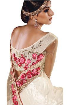 Cream Net Mirror-Moti Heavy Designer Hand Work Bridal Saree