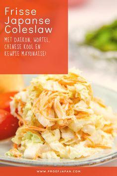 Deze Japanse coleslaw is heerlijk fris, met knisperende groente. En doet het uitstekend met onze broodjes teriyaki pulled chicken er naast! Of wat anders lekkers natuurlijk ;) Kewpie, Coleslaw, Vinaigrette, Lettuce, Cabbage, Chinese, Snacks, Vegetables, Food