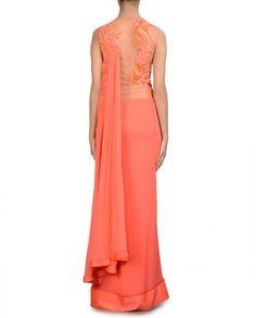 Coral Peach Sari Gown- Buy Saris,Gaurav Gupta - Lakme '14,Gaurav Gupta - Lakme '14 Online | Exclusively.in