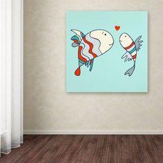 Trademark Fine Art Two Little Love Fish Canvas Art by Carla Martell, Size: 24 x 24, Multicolor