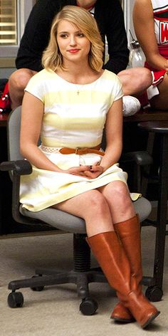 My stripes obsession continues.....  Dianna Agron in pale yellow striped dress