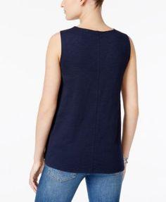 Style & Co Petite Cotton Crochet-Trim Tank Top, Only at Macy's - White P/XS