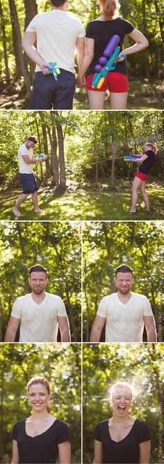 Victoria Anne Photography | Water fight engagement session!