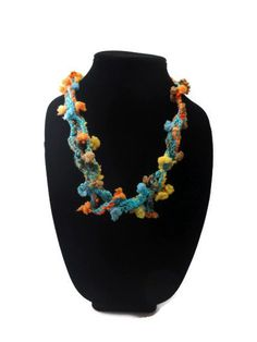 Crochet Necklace Colorful Knotted Twisted by ToppyToppyKnits, $15.00