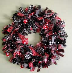 Country Red and Black Rag Wreath