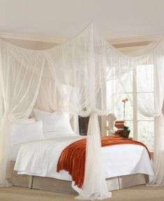 Creating a romantic canopy bed does not require a professional designer. A canopy bed adds elegance, sophistication and most of all; it gives a romantic feel to your bedroom. Getting a romantic room is as easy as ABC. Canopy Bed Curtains, Canopy Over Bed, Curtains Around Bed, Bed Canopy Diy, Canopy Bed Drapes, Modern Canopy Bed, Canopy Bedroom Sets, Bed Canopies, Ceiling Canopy