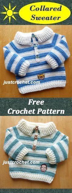 "Free baby crochet for collard sweater. ""Free baby crochet for collard sweater. Crochet Baby Sweaters, Crochet Baby Clothes, Newborn Crochet, Baby Knitting, Crochet Bebe, Crochet For Boys, Free Crochet, Crochet Ruffle, Booties Crochet"