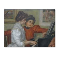 Renoir 'Yvonne And Christing Larolle At The Piano' Canvas Art
