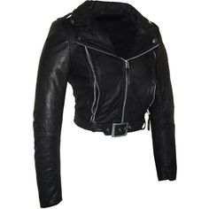 Hand Made Short Cropped Bubble Leather Motorcycle Biker Women Jacket... ($110) ❤ liked on Polyvore featuring outerwear, jackets, black, women's clothing, black jacket, leather jacket, black cropped jacket, motorcycle jacket and black leather belt