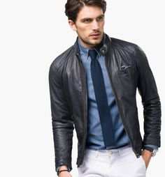 Massimo Dutti Blue Nappa Leather Jacket