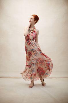 Blooming Silk Maxi Dress - Anthropologie.com