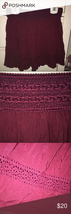 aeropostale burgundy skirt w/ crochet detail burgundy skirt from aeropostale with crochet detail on top and bottom. fits a size small or medium. worn only twice and is in great condition! Aeropostale Skirts Mini
