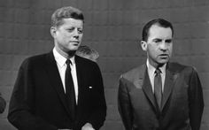 1960: John F. Kennedy, left, and Richard Nixon after the first of their four presidential debates. While both candidates sympathized with the struggles of African-Americans, Kennedy's efforts resonated more with voters. Both Kennedy and Nixon openly sympathized with African-Americans, but neither pushed concrete solutions out on the campaign trail, fearful of alienating Southern whites. AP Photo.