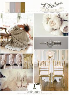 Wedding inspiration - Ivory, Dove Grey, Blush & Gold. Just add some deep purple accents