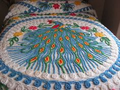 Vintage Chenille Peacock Bedspread by buffalogalsgallery on Etsy, $225.00. Fairy Godmother, hook a sista up with this. LOVE it.