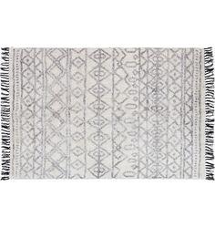 Isa Tassle 180x120cm Cotton Rug, Natural & Black