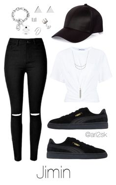 """""""Nyc with BTS- Jimin """" by ari2sk on Polyvore featuring River Island, T By Alexander Wang, Michael Kors, Charlotte Russe, Puma, Elizabeth and James, Jennifer Meyer Jewelry, Maison Margiela and Accessorize"""