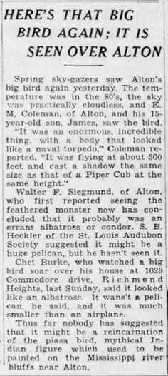 """110-129: """"Report from the Readers"""": Future ancient astronaut author Vaughn M. Greene (The Six Thousand Year Old Spacesuit, 1982) mentions several accounts of giant birds seen in the US, including a series of sightings centering on Alton, Illinois (site of the Piasa painting, Fate, March 1954) in April 1948. E. M. Coleman of Alton saw the bird on April 24, 1948, and said it seemed to be as big as a Piper Cub plane. Greene thinks the big birds might be space creatures."""