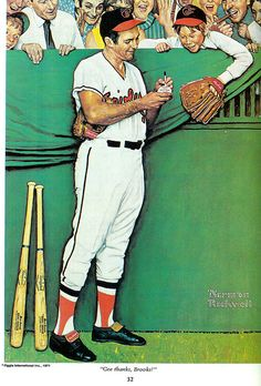 "Norman Rockwell Print ""Gee, Thanks Brooks!"" Signed By Brooks Robinson. Norman Rockwell's name is synonymous - Available at Sunday Internet Sports. Norman Rockwell Prints, Norman Rockwell Paintings, Caricatures, The Saturdays, Baseball Art, Baseball Painting, Baseball Teams, Baseball Gloves, Softball"