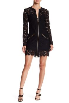 Jenette Embroidered Lace Zip Dress