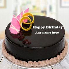 Online Write Name On Round Shape Chocolate Pink Designer Cake Happy Birthday Cakes For Women, Happy Birthday Cake Writing, Latest Birthday Cake, Birthday Cake Write Name, Birthday Wishes Girl, Birthday Cake With Photo, Happy Birthday Cake Images, Birthday Cake Pictures, Cake Birthday
