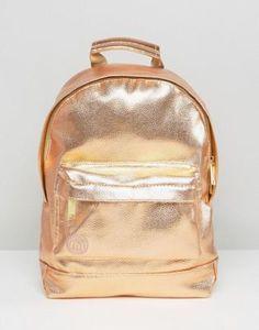 Mi-Pac - Zaino piccolo rosa oro metallizzato