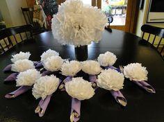 Tissue flowers on napkins