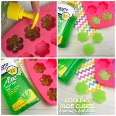 Aloe Cooling Cubes Sunburn Solution - these are a perfect beach hack with a recipe from a tried and true Florida girl! Aloe recipe on Frugal Coupon Living.