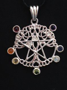 Zilveren hanger chakra levensboom