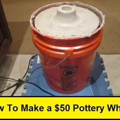 """How To Make a $50 Pottery Wheel. 1) Ground the body of the motor. 2) Use a GFI device. 3) Make a few holes in the bottom of the bucket so that any water can drain out. 4) Add a fan speed controller to change the motor speed. 5) As the wheel spins, consider using a lathe-like tool to scrap the outer rim of the wheel so that you end up with a """"perfect"""" circle (will avoid wobbles in the long run)."""
