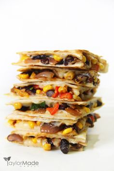 Quesadillas are a favorite around our house.  I love this version.  It's healthy, fresh, full of veggies & protein and loaded with flavor.