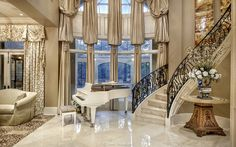 This is a custom european styled home designed by Dan Sater. The Sater Group, Inc, specializes in custom luxury homes. Luxury Home Decor, Luxury Interior, Home Interior Design, Luxury Homes, Foyer Staircase, Stairs, European Style Homes, Mansion Interior, Foyer Decorating