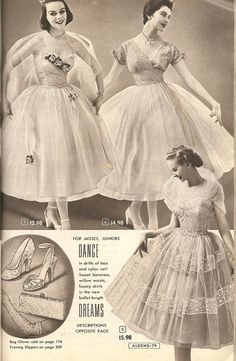 Fifties Style, Fifties Fashion, Vintage Fashion, 50s Dresses, Party Dresses, Bridal Gowns, Vintage Ladies, Catalog, Fall Winter