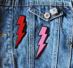 Pink lightning bolt iron on patch