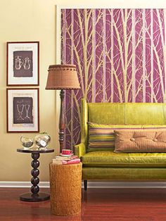Chartreuse sofa with magenta! Great wallpaper for a pop of color! I need to find this for my bathroom or. Aster bedroom!