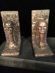 Antique Skull Bookends Pair of Human Skull Book Ends at Gothic Rose Antiques
