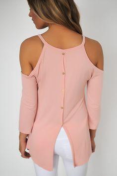 Cold Shoulder Button Back Top- Rose - Dottie Couture Boutique