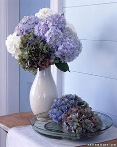 Various colors of hydrangeas take on a stately elegance when grouped together in a tall vase.