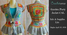 Garden Party Jacket CAL by Stephanie Pokorny at Crochetverse. Starts April 20 2016 for 4 weeks. Sizes XXS-5X.