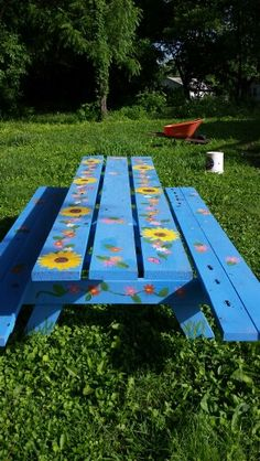 trendy ideas for cool furniture ideas picnic tables Painted Picnic Tables, Diy Picnic Table, Hand Painted Chairs, Painted Benches, Contemporary Garden Furniture, Garden Furniture Design, Cool Furniture, Painted Furniture, Furniture Ideas