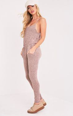 Saria Nude Marl Strappy Jumpsuit - Jumpsuits & Playsuits - PrettylittleThing   PrettyLittleThing.com