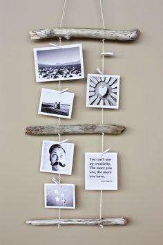 My Pink Plum! | DIY | Wnętrza | Design | Ślub i wesele | Lifestyle: [Sposób na pustą ścianę] Wieszak z gałązki - na fotografie i pamiątki