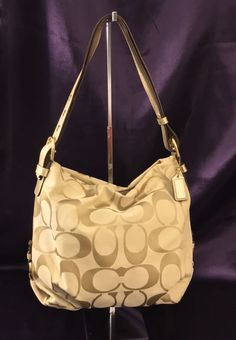 Coach Signature Khaki & Gold Hobo Duffel Shoulder Crossbody Bag Purse F15067 LN!  | eBay