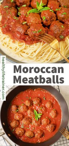 Moroccan Meatballs are very delightful and delicious, with a Moroccan palate. Ground beef seasoned with warm spices, fresh herbs, and garlic. The meatballs are cooked until they become smoky and charred. All this floats in a delicious tomato sauce. Meatballs in a red sauce are a classic combination that can be seen in many different cuisines across the world. #easymeatballs #Moroccanmeatballs